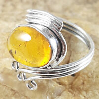 sterling Silver Ring amber jewelry christmas Gift ring Gemstone handmade Rings