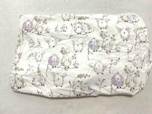 Pottery Barn Kids Organic Cotton Fitted Crib Sheet Purple Tan Bird Owl