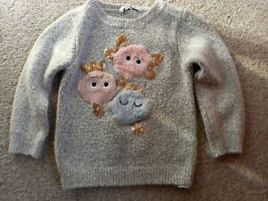 GIRLS SIZE 2-3 YEARS FLUFFY GREY JUMPER WITH SPARKLY SEQUIN GOOD CONDITION
