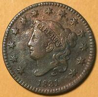 1831 Coronet Head Large Cent Penny - Good Details - Unique Toning - Nice Coin!