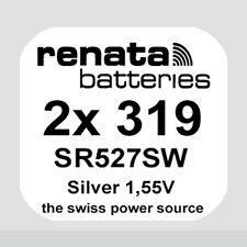 2x Renata 319 Uhren-Batterie Knopfzelle SR527SW Silberoxid Blisterware Neu