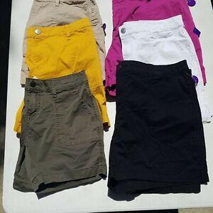 St John's Bay Mid-Rise Shorts Easy Fit Khaki black white pink green gold 4 12-16