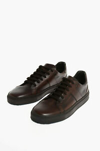 CORNELIANI men Sneakers Shoes Leather Rubber Sole Brown 8 (Shoes UK)