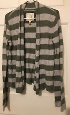 American Eagle Size L Green and Gray Striped Knit Cardigan Sweater 13% Angora