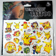 Pokemon Go Pikachu Cartoon Kids Boys Girls Temporary Tattoos Stickers Body Art