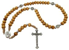 Wood Beads Prayer Catholic Rosary Saint Benedict Cross Holy Soil Religious Gift