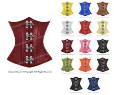 26 Double Steel Boned Waist Training Leather Underbust Shaper Corset #8520-MC-LE