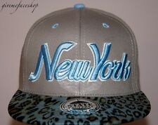 New York Leopard Snapback caps, NY dope flat peak baseball fitted hats grey/sky