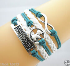 Cute Infinity/Dog/Best Friend Charms Leather Braided Bracelet (Teal+White)