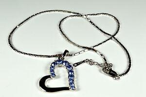 Damenschmuck Elegante Halskette mit Herz Anhänger Strass18K Weiß Gold A.K01
