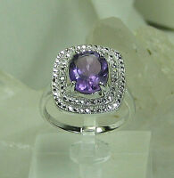 HSN Oval Amethyst Solitaire with Absolute Accents Ring 925 Sterling Silver SZ 8