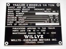 Placa IDENTIFICADORA Willys Jeep Remolque remolques PANEL ABOLLADURAS s42