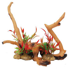 Driftwood Con Planta Vivero, Terrario Reptil Adorno Decoración Deco fp61256