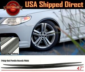 "Flexible Slim 47"" Fender Flare Extension Carbon Textured Trim For Honda Acura"