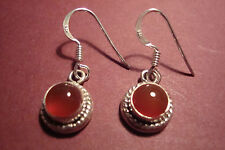 Genuine Indian 925 Silver & Gemstone Cabochon  Earrings~Carnelian~S40~uk seller