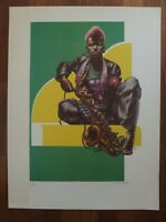 Liberatore JAZZ lim. signierte Lithographie Saxophon Erotik Music Comic Art RAR