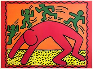 """KEITH HARING ESTATE RARE 1999 POP ART LITHOGRAPH PRINT POSTER """" UNTITLED """" 1982"""