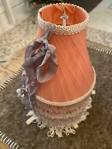 Rare Vintage Pink Silk Shabby Chic Candelabra Chandelier Lamp Shade Set Of 6