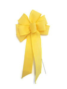 """Small 5-6"""" Handmade Yellow Linen Bow - Easter Spring"""
