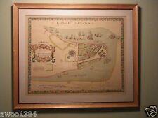 1661 Map New Amsterdam New York Duke's Plan Valentines Manual 1859 Argosy Framed