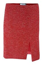 *MOSCHINO* RED SPECKLED BOUCLE COTTON BLEND MINI SKIRT (IT 48)