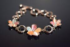 18K GP Rose Gold Multi-colored Cat's Eye CZ Flower Toggle Bracelet