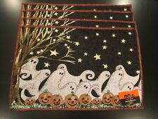 NWT Set Of 4 Halloween Ghosts Fabric Tapestry Table Placemats 13 X 19 Inch
