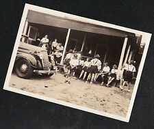 Vintage Photograph Front of Antique Car & Young Girls in Uniforms