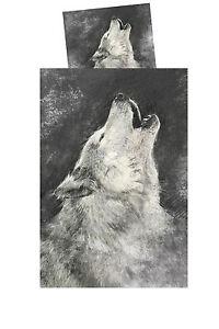 Bettwäsche Wolf Garnitur Set Kissenbezug Bettbezug 2teilig 80x80 135x200 Wölfe