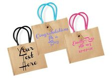 Personalised Natural Jute Bag, Colour Handle, Baby, Gift, Lunch Bag, Large