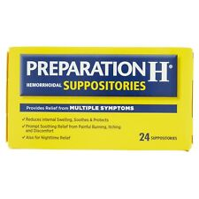 Preparation H Hemorrhoidal Suppositories, Reduces Internal Swelling, 24 counts
