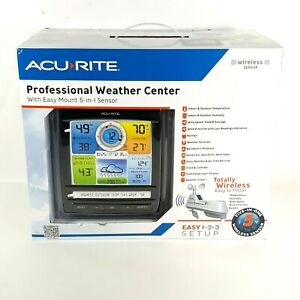 AcuRite Pro 5-in-1 Color Weather Station Center Forecast w/ Wind & Rain 01512A1