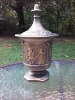 "Vtg Arnels Pottery 10"" Ceramic Jar Urn Vase W/ Lid Roman Greek Figure Scenes"