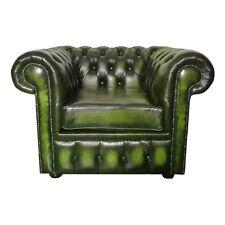 Nuovo Chesterfield 100% Vera Pelle Verde Antico Divano Sedia Club Poltrona UK