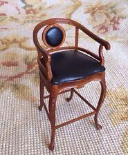 Bespaq Dollhouse Miniature High Bar Stool Chair Seat Chaise Bench Black p210
