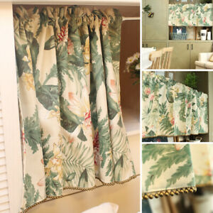 Flower Print Half Curtain For Small Window Cabinet Door Cafe Kitchen Home Decor