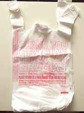 """50 T-SHIRT THANK YOU PLASTIC GROCERY BAGS 11.5"""" X 21"""" X 6.5"""" #2 HDPE Recyclable"""