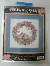 """Design Works Promises Wreath Counted Cross Stitch Kit Lovebirds Flowers 12x12"""""""