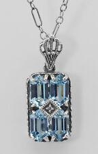 "Art Deco Style Blue Topaz Filigree Diamond Pendant 18"" Chain Sterling Silver"