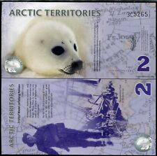 ARCTIC TERRITORIES 2 DOLLARS 2010 POLAR POLYMER SEAL/MAMAL/ANIMAL UNC