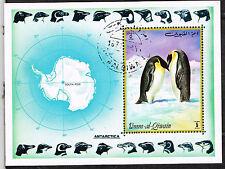 Umm Al Qiwain Fauna Antarctic Pinguins and Map Souvenir Sheet 1971
