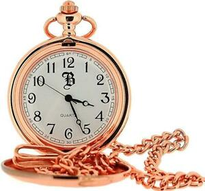 Boxx Rose Goldtone Gents Analogue White Dial Pocket Watch and Chain BOXX224