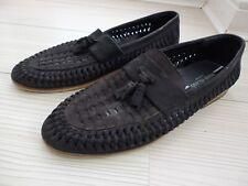 Black leather Woven Tassel Slip On Shoes Loafers UK 11 mens basket weave