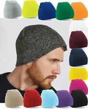 Beanie Hat Pull On Beechfield Soft Touch Knitted Retro Ski Winter Warm Acrylic