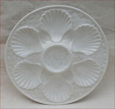French Oyster Plate Faience White Basketweave Longchamp 1970