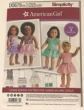 """0679 8360 UNCUT Simplicity Sewing Pattern AMERICAN GIRL 18"""" Doll Clothes NEW"""