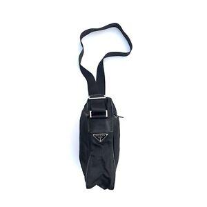 Prada Crossbody Messenger Bag Black Nylon Leather Authentic