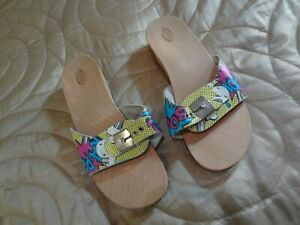 Scholl Pescura Womens Buckle Front Wooden Clogs Sandals Size UK 6 Euro 39 VGC