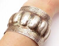 925 Sterling Silver - Vintage Hammered Modernist Wide Cuff Bracelet - B7207