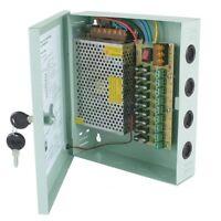 12V DC 10A 9 CH CCTV BOX POWER SUPPLY UNIT 10 AMP Lock Case Office